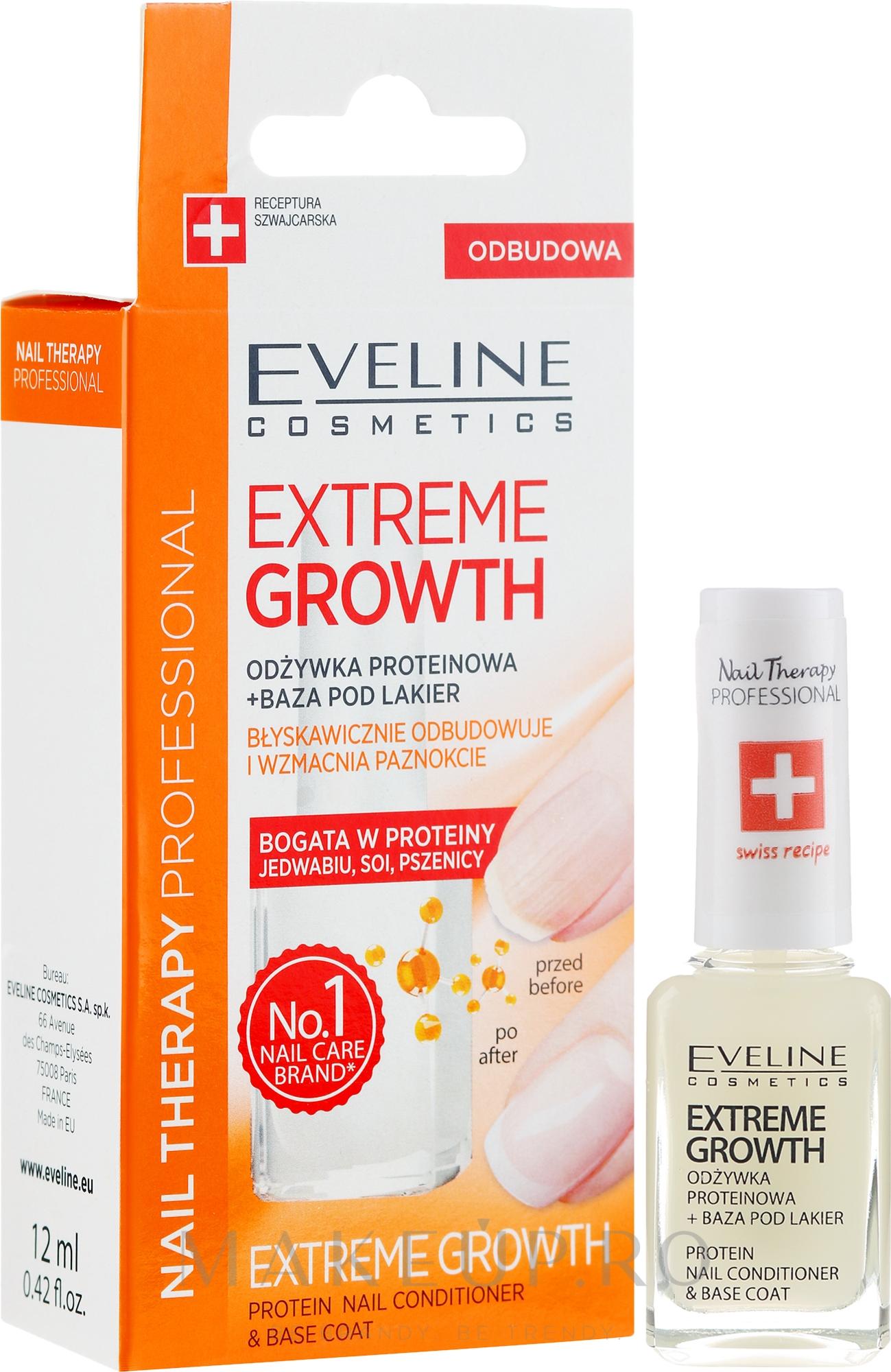 Întăritor pentru unghii - Eveline Cosmetics Nail Therapy Professional Protein Extreme Growth — Imagine 12 ml