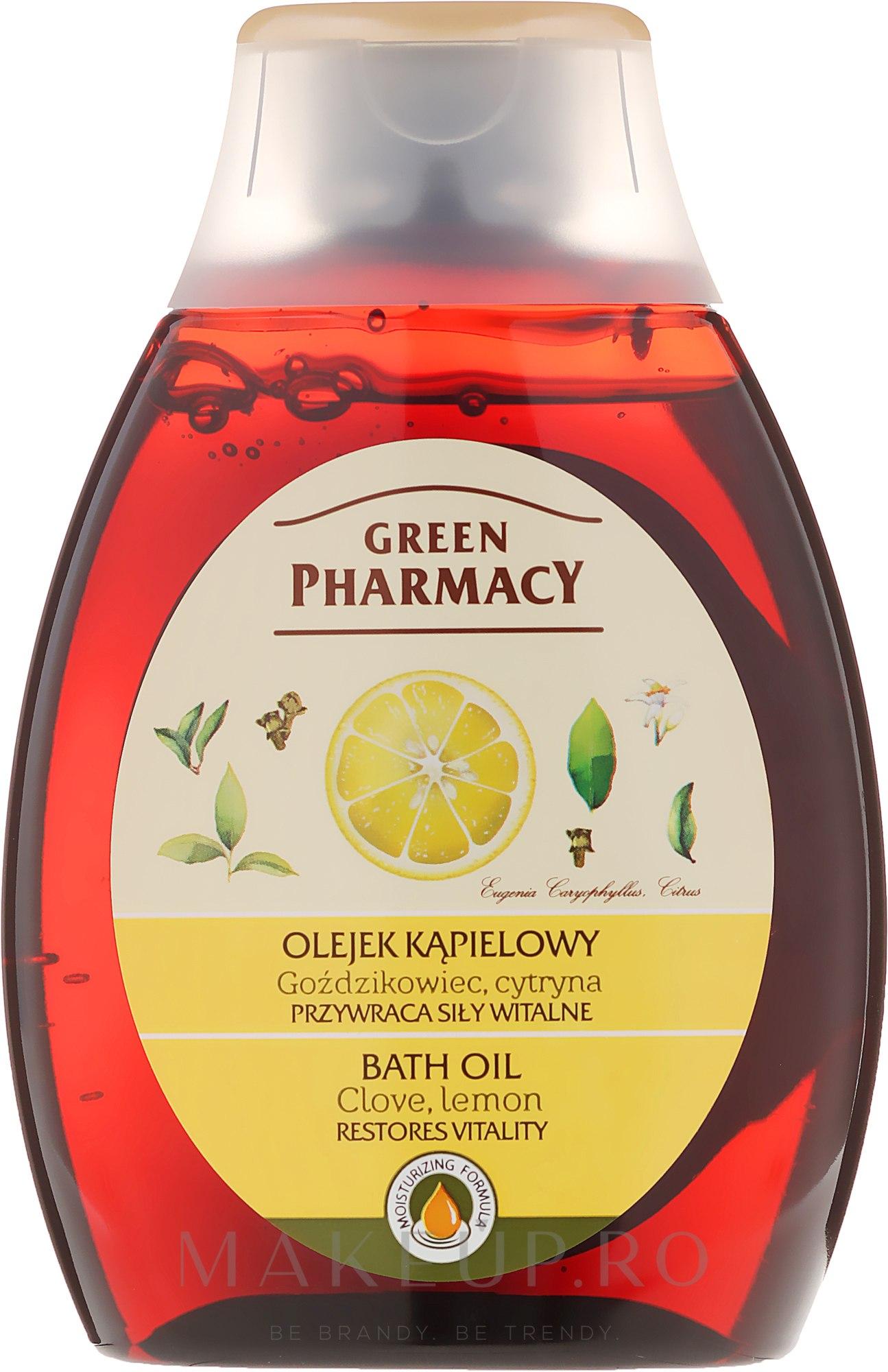 """Ulei pentru baie și duș """"Garoafă și lămâie"""" - Green Pharmacy — Imagine 250 ml"""