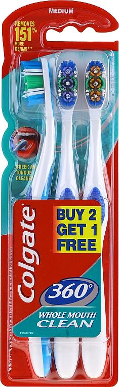 Set periuțe de dinți, duritate medie, albastru + violet + portocaliu - Colgate 360