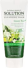 Spumă de curățare cu extract de ceai verde - Deoproce Natural Perfect Solution Cleansing Foam Green Tea — Imagine N2