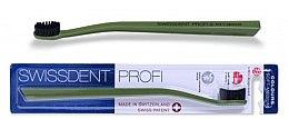 Parfumuri și produse cosmetice Periuță de dinți, duritate medie, verde - SWISSDENT Profi Colours Soft-Medium Toothbrush Green&Black