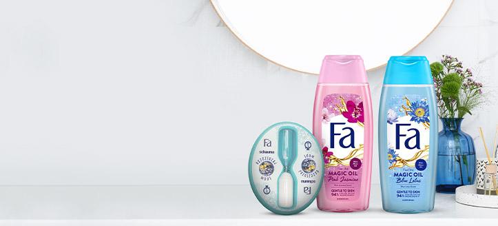 La achiziționarea produselor promoționale Fa începând cu suma de 20 RON, primești cadou un ceas clepsidră pentru duș