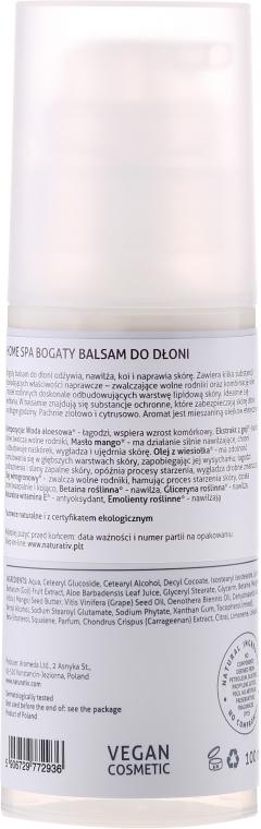 Balsam pentru mâini - Naturativ Rich Hand Balm Home Spa — Imagine N2