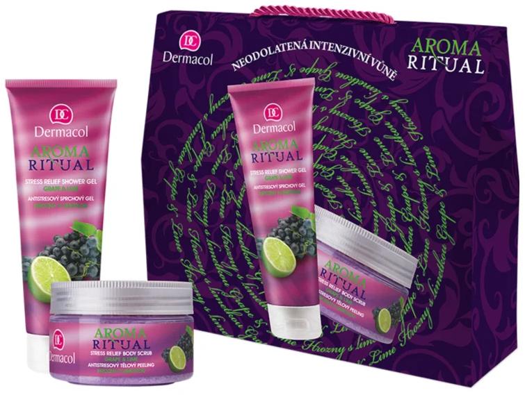 "Set ""Struguri și lime"" - Dermacol Aroma Ritual Grape & Lime (sh/gel/250ml + b/scrb/200ml) — Imagine N1"