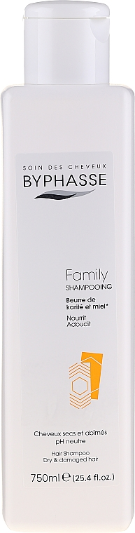 Șampon pentru păr uscat și deteriorat cu miere și unt de shea - Byphasse Family Shampoo Shea Butter and Honey Dry And Damaged Hair — Imagine N3