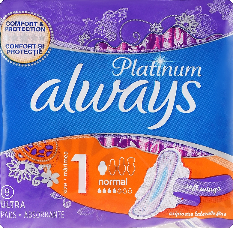 Absorbante, 8 bucăți - Always Platinum Ultra Normal Plus — Imagine N2