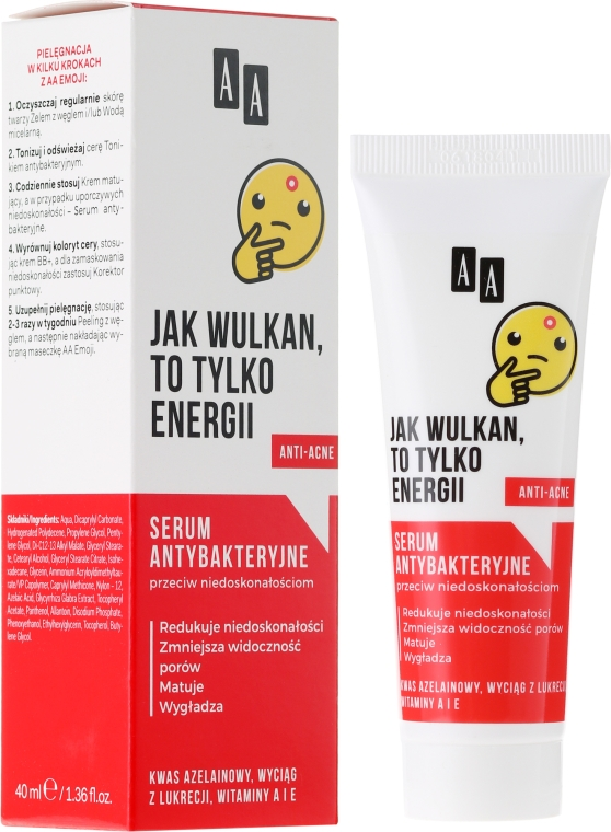 Ser cu acțiune antibacteriană pentru față - AA Cosmetics Emoji Antibacterial Serum — Imagine N1