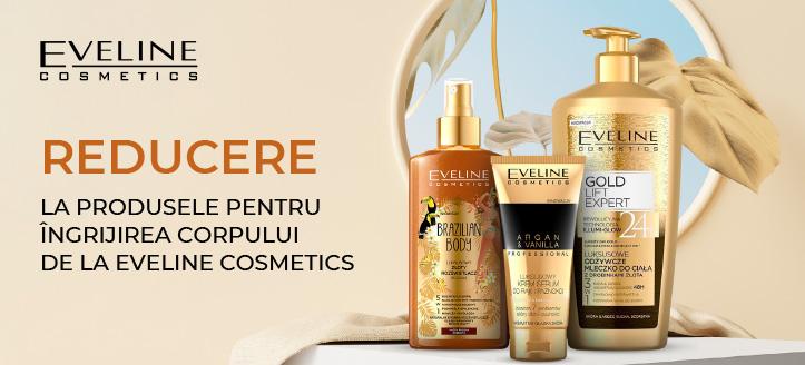 Reducere la produsele pentru îngrijirea corpului de la Eveline Cosmetics. Prețurile pe site sunt prezentate cu reduceri