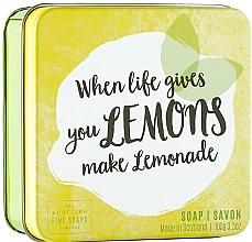 """Parfumuri și produse cosmetice Săpun de corp """"Lămâie"""", în cutie de metal - Scottish Fine Fruits Lemons Soap"""