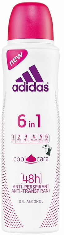 Deodorant - Adidas Anti-Perspirant 6 in 1 Cool&Care 48h