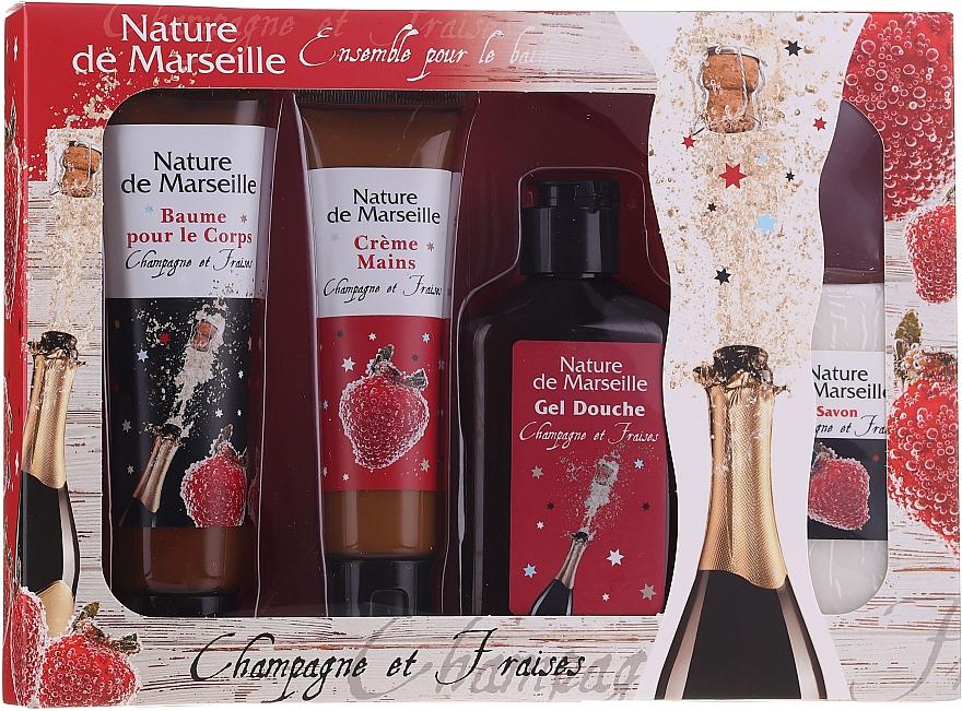 "Set ""Căpșuni și Șampanie"" - Nature De Marseille (sh/gel/150ml +cr/60ml + b/balm/100ml + soap/95g) — Imagine N1"