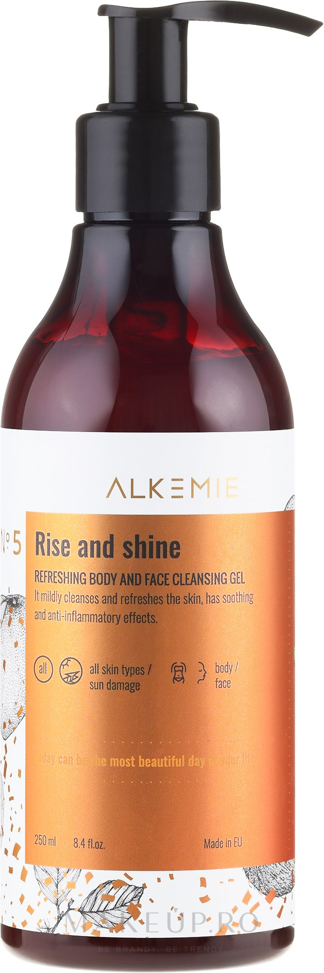 Gel de curățare pentru corp și față - Alkemie Refreshing Body And Face Cleansing Gel Rise And Shine — Imagine 250 ml