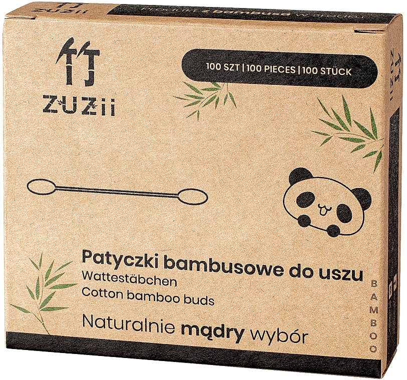 Bețișoare din bumbac - Zuzii Bamboo Cotton Buds — Imagine N1