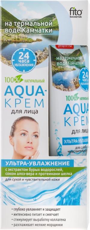 """Cremă de față, pe bază de apă termală din Kamchatka """"Ultra-hidratanta"""" cu extract de alge maro, suc de aloe vera și proteine de mătase - FitoKosmetik"""