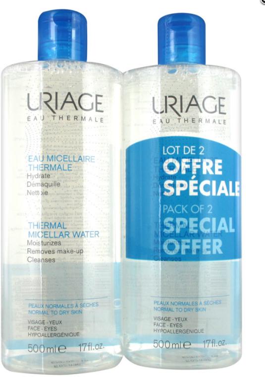 Apă micelară pentru piele sensibilă - Uriage Thermal Micellar Water Normal Dry Duo — Imagine N1