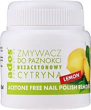 """Parfumuri și produse cosmetice Soluție pentru îndepărtarea ojei, fără acetonă, cu burețel """"Lămâie"""" - Ados Acetone Free Nail Polish Remover"""