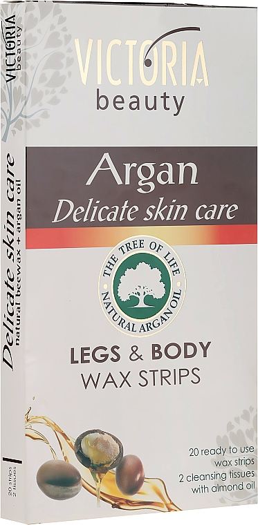 Benzi pentru epilare - Victoria Beauty Delicate Skin Care Legs & Body Waxing Strips Argan — Imagine N1