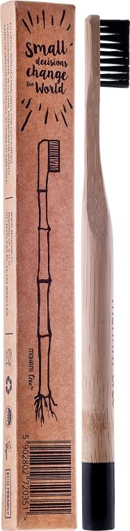 Periuță de dinți din bambus, duritate medie, cu peri negri - Mohani Toothbrush — Imagine N1