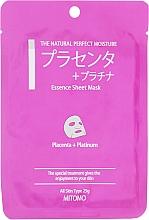 """Parfumuri și produse cosmetice Mască din țesătură pentru față """"Placentă și nano-particule de platină"""" - Mitomo Essence Sheet Mask Placenta + Platinum"""