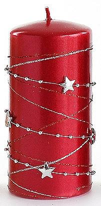 Lumânare decorativă, roșie, 7x10 cm - Artman Christmas Garland — Imagine N1