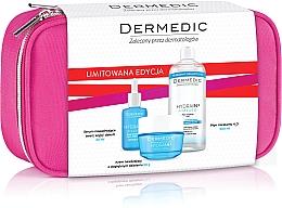 Parfumuri și produse cosmetice Set - Dermedic Hydrain 3(ser/30/ml+cr/50/ml+mic/water/500/ml+bag)