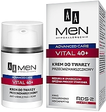 Parfumuri și produse cosmetice Cremă de față anti-rid - AA Men Advanced Care Vital 40+ Face Cream Anti-Wrinkle