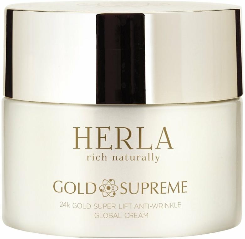 Cremă de față - Herla Gold Supreme 24K Gold Super Lift Anti-Wrinkle Global Cream — Imagine N1