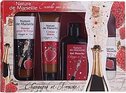 "Parfumuri și produse cosmetice Set ""Căpșuni și Șampanie"" - Nature De Marseille (sh/gel/150ml +cr/60ml + b/balm/100ml + soap/95g)"