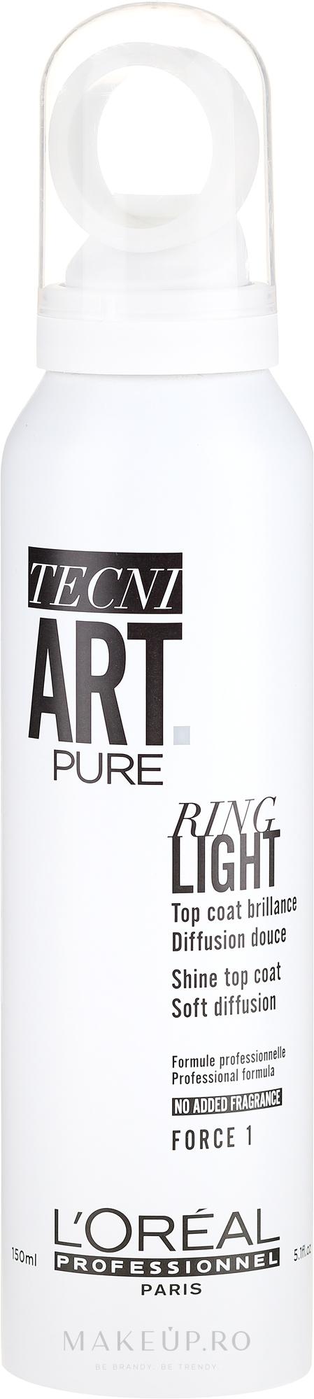 Spray de păr - L'Oreal Professionnel Tecni.art Pure Ring Light Top Coat Brilliance — Imagine 150 ml