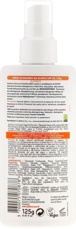 Spray protecție solară pentru copii SPF 50+ - Alphanova Baby Sun Protection Spray SPF 50 — Imagine N2