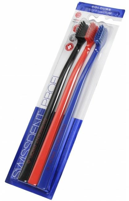 Set periuțe de dinți, mediu-moale, negru+roșu+albastru - SWISSDENT Profi Colours Soft-Medium Trio-Pack — Imagine N2