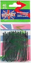 Parfumuri și produse cosmetice Agrafe pentru coc, negre 65 mm, 40 buc. - Ronney Professional Black Hair Pins