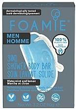 """Parfumuri și produse cosmetice Săpun de duș 3în1, pentru bărbați """"Mentă și lămâie"""" - Foamie 3in1 Shower Body Bar For Men Seas The Day"""