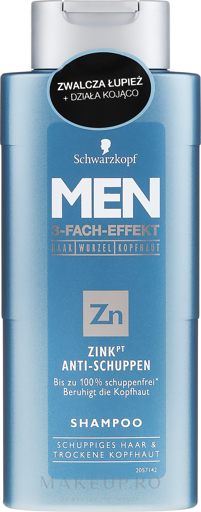 Șampon anti-mătreață - Schwarzkopf Men ZinkPT Anti-Schuppen Shampoo — Imagine 250 ml
