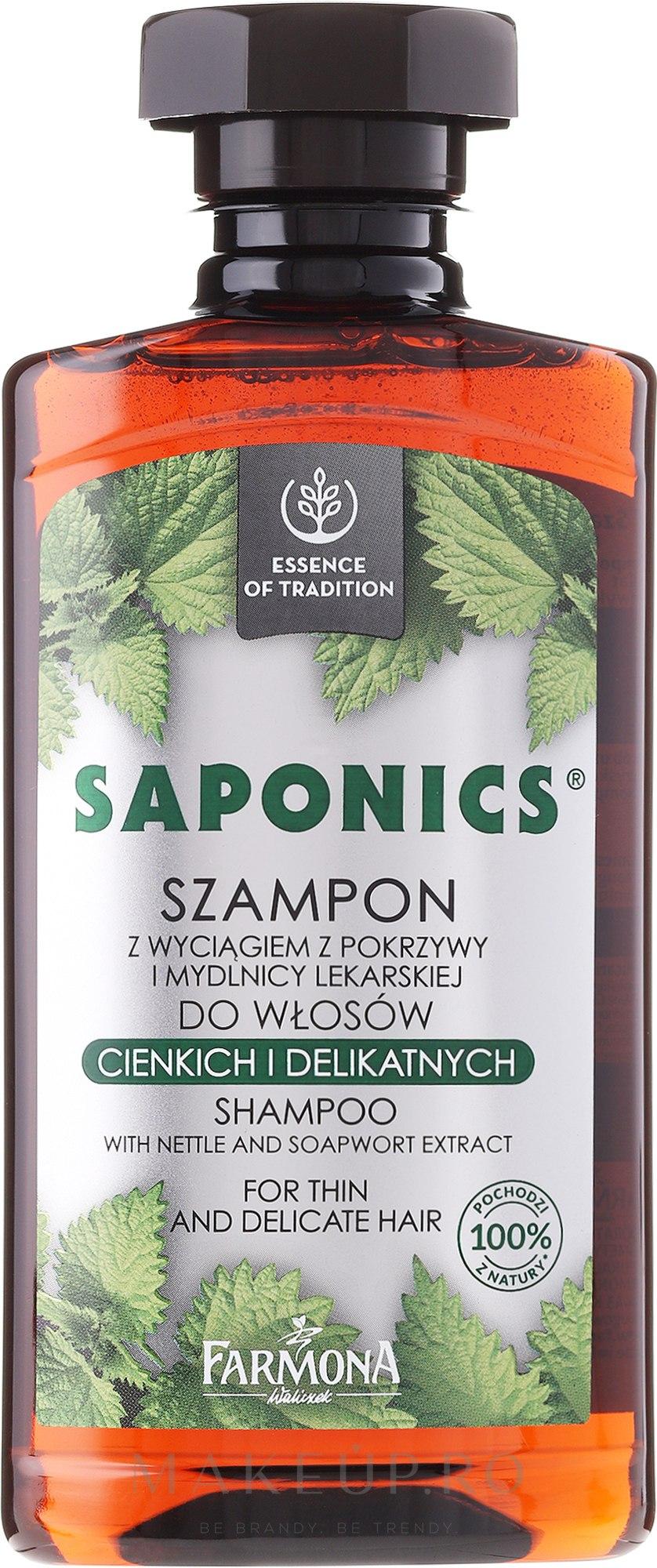 """Șampon pentru păr """"Urzică și Săpunăriță"""" - Farmona Saponics Shampoo with Natural Soapwort and Nettle Leaf Extracts — Imagine 330 ml"""