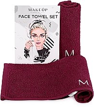 """Parfumuri și produse cosmetice Set de prosoape de față, pentru călătorii, bordo """"MakeTravel"""" - Makeup Face Towel Set"""