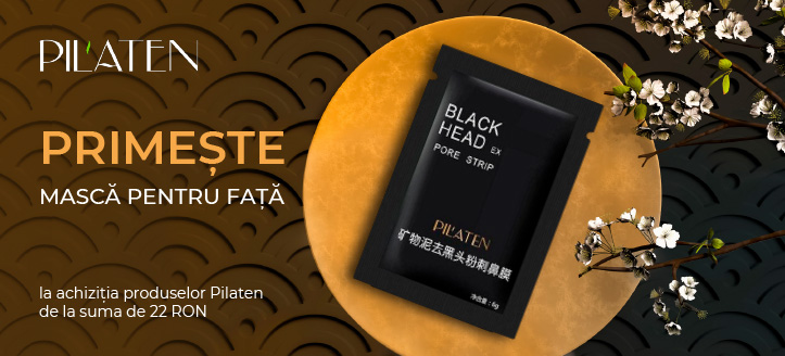 La achiziția produselor Pilaten de la suma de 22 RON, primești în dar o mască pentru curățarea porilor