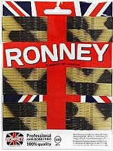 Parfumuri și produse cosmetice Set agrafe de păr, auriu-negru 60 mm, 100 buc. - Ronney Professional Golden-Black Hair Bobby Pins