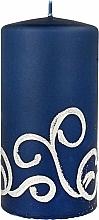 Parfumuri și produse cosmetice Lumânare decorativă, albastră cu decorații, 7x14 cm - Artman Christmas Ornament