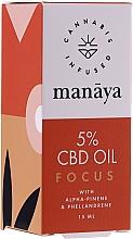 Parfumuri și produse cosmetice Ulei de cânepă pentru îmbunătățirea concentrației și atenției - Manaya 5 % CBD Oil Focus