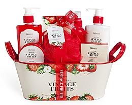 Parfumuri și produse cosmetice Set - IDC Institute Vintage Fruits (sh/g/250ml+b/lot/250ml+b/scrub/120ml+salt/100g+spray/100ml+soap/100g+sponge+basket)