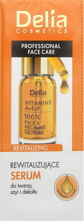 Ser antirid pentru față și decolteu, cu vitaminele A, E, F - Delia Face Care Anti-Wrinkle and Revitalizing Face Neckline Intensive Serum