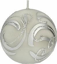 Parfumuri și produse cosmetice Lumânare decorativă, bilă, gri cu decorații, 10 cm - Artman Christmas Ornament