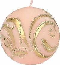 Parfumuri și produse cosmetice Lumânare decorativă, bilă, roz cu decorații, 8 cm - Artman Christmas Ornament