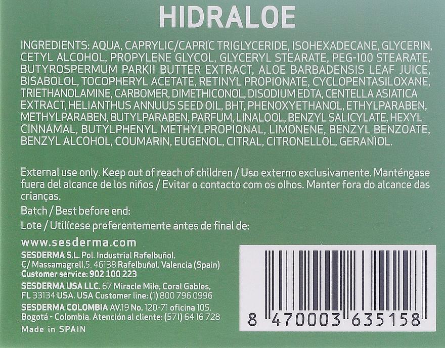 Cremă hidratantă pentru față - SesDerma Laboratories Hidraloe Moisturizing Face Cream — Imagine N3