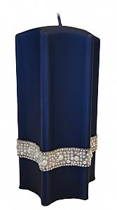 """Lumânare decorativă """"Stea"""", albastră, 9x18cm - Artman Crystal Opal Pearl — Imagine N1"""