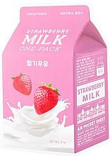 """Parfumuri și produse cosmetice Mască de față """"Căpșuni"""" - A'Pieu Milk One-Pack Brightening Strawberry"""