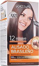 Parfumuri și produse cosmetice Set pentru îndreptarea părului cu keratină - Kativa Alisado Brasileno Con Glyoxylic & Keratina Vegetal Kit (shm/15ml + mask/150ml + shm/30ml + cond/30ml)