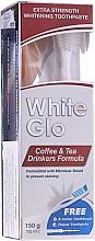 """Parfumuri și produse cosmetice Set """"Pentru consumatorii de ceai și cafea"""", periuță albă cu roz - White Glo Coffee & Tea Drinkers Formula Whitening Toothpaste (toothpaste/100ml + toothbrush)"""