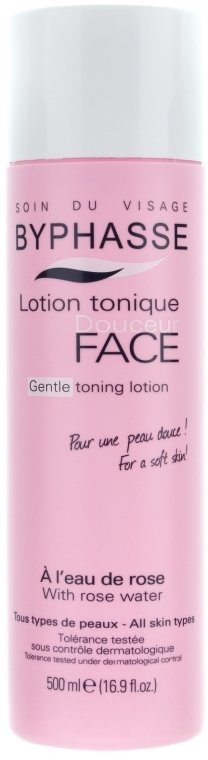 "Loțiune-tonic pentru față ""Apă de trandafir"" - Byphasse Gentle Toning Lotion With Rosewater All Skin Types — Imagine N1"